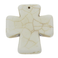 Synthetic Turquoise Pendants, Cross, white, 42x46x7mm, Hole:Approx 1mm, Sold By PC