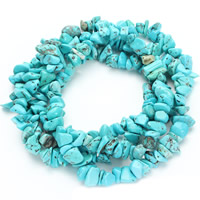 Synthetic Turquoise Beads, Nuggets, blue, 5-8mm, Hole:Approx 1.5mm, Length:Approx 31 Inch, Approx 120PCs/Strand, Sold By Strand