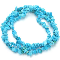 Synthetic Turquoise Beads, Nuggets, blue, 7-11mm, Hole:Approx 1.5mm, Length:Approx 31 Inch, Approx 80PCs/Strand, Sold By Strand