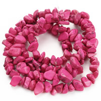 Synthetic Turquoise Beads, Nuggets, bright rosy red, 8-12mm, Hole:Approx 1.5mm, Length:Approx 31 Inch, Approx 76PCs/Strand, Sold By Strand