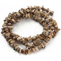 Picture Jasper Beads, Nuggets, 5-8mm, Hole:Approx 1.5mm, Length:Approx 31 Inch, Approx 120PCs/Strand, Sold By Strand
