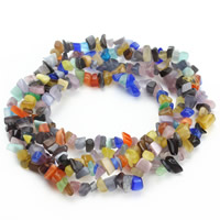 Cats Eye Beads, Nuggets, mixed colors, 5-8mm, Hole:Approx 1.5mm, Length:Approx 31 Inch, Approx 120PCs/Strand, Sold By Strand