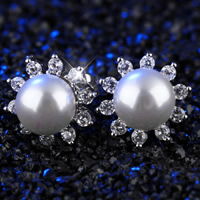 Cubic Zircon Brass Earring, with Glass Pearl, Flower, platinum plated, for woman & with cubic zirconia, 12.5mm, Sold By Pair