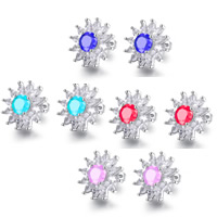 Cubic Zircon Brass Earring, Flower, platinum plated, for woman & with cubic zirconia, more colors for choice, 14mm, Sold By Pair
