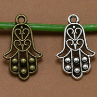 Zinc Alloy Hamsa Pendants, plated, more colors for choice, lead & cadmium free, 23x13mm, Hole:Approx 1.5mm, 100PCs/Bag, Sold By Bag
