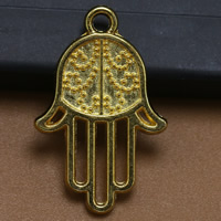 Zinc Alloy Hamsa Pendants, gold color plated, lead & cadmium free, 26x17mm, Hole:Approx 1.5mm, 100PCs/Bag, Sold By Bag