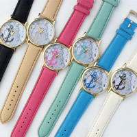 Unisex Wrist Watch, PU, with zinc alloy dial & Glass, plated, adjustable, more colors for choice, 35mm, 20mm, Length:9.5 Inch, Sold By PC