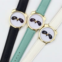 Unisex Wrist Watch, PU, with zinc alloy dial & Glass, plated, cartoon pattern & adjustable, more colors for choice, 35mm, 20mm, Length:Approx 9.5 Inch, Sold By PC
