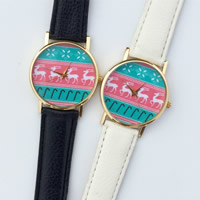 Unisex Wrist Watch, PU, with zinc alloy dial & Glass, plated, cartoon pattern & Christmas jewelry & adjustable, more colors for choice, 35mm, 20mm, Length:Approx 9.5 Inch, Sold By PC