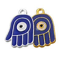 Zinc Alloy Hamsa Pendants, plated, Islamic jewelry & enamel, more colors for choice, 14x20x1.5mm, Hole:Approx 2.1mm, Sold By PC
