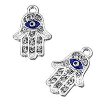 Zinc Alloy Hamsa Pendants, silver color plated, Islamic jewelry & enamel & with rhinestone, 13.5x20x2mm, Hole:Approx 2.1mm, Sold By PC