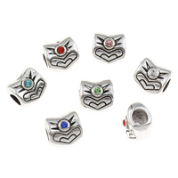 Zinc Alloy European Beads, antique silver color plated, without troll & with rhinestone, more colors for choice, lead & cadmium free, 10.5x10x9mm, Hole:Approx 4mm, Sold By PC