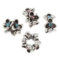 Zinc Alloy European Beads, Flower, antique silver color plated, without troll & with rhinestone, more colors for choice, lead & cadmium free, 7x12mm, Hole:Approx 5mm, Sold By PC