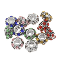 Zinc Alloy European Beads, Rondelle, antique silver color plated, without troll & with rhinestone, more colors for choice, lead & cadmium free, 6x11mm, Hole:Approx 4mm, Sold By PC