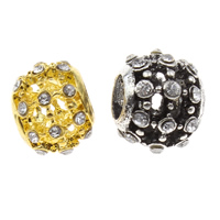 Rhinestone Zinc Alloy European Beads, Drum, plated, different size for choice & without troll & with rhinestone & hollow, more colors for choice, lead & cadmium free, Hole:Approx 5mm, Sold By PC