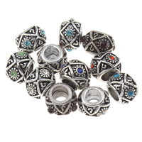 Rhinestone Zinc Alloy European Beads, Drum, antique silver color plated, without troll & with rhinestone, more colors for choice, lead & cadmium free, 7x10mm, Hole:Approx 4.5mm, Sold By PC