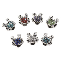 Rhinestone Zinc Alloy European Beads, Crab, antique silver color plated, without troll & with rhinestone, more colors for choice, lead & cadmium free, 13x12mm, Hole:Approx 4mm, Sold By PC