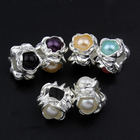 Zinc Alloy European Beads, with ABS Plastic Pearl, Flower, silver color plated, without troll, more colors for choice, lead & cadmium free, 10x13mm, Hole:Approx 5mm, Sold By PC