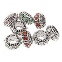 Rhinestone Zinc Alloy European Beads, Rondelle, antique silver color plated, without troll & with rhinestone, more colors for choice, lead & cadmium free, 5x10mm, Hole:Approx 5mm, Sold By PC
