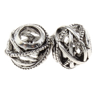 Zinc Alloy European Beads, Drum, antique silver color plated, without troll & hollow, lead & cadmium free, 10x12mm, Hole:Approx 5mm, Sold By PC