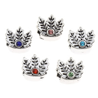 Rhinestone Zinc Alloy European Beads, Leaf, antique silver color plated, without troll & with rhinestone, more colors for choice, lead & cadmium free, 12x10x9mm, Hole:Approx 5mm, Sold By PC