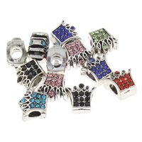 Rhinestone Zinc Alloy European Beads, Crown, antique silver color plated, without troll & with rhinestone, more colors for choice, lead & cadmium free, 12x11x8mm, Hole:Approx 5mm, Sold By PC