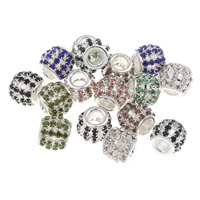 Rhinestone Zinc Alloy European Beads, Drum, platinum color plated, without troll & with rhinestone & hollow, more colors for choice, lead & cadmium free, 10x12mm, Hole:Approx 5mm, Sold By PC