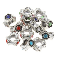 Rhinestone Zinc Alloy European Beads, Flower, antique silver color plated, without troll & with rhinestone, more colors for choice, lead & cadmium free, 6x10mm, Hole:Approx 4mm, Sold By PC