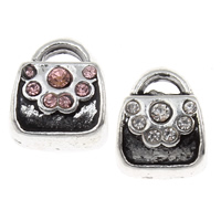 Rhinestone Zinc Alloy European Beads, Handbag, antique silver color plated, without troll & with rhinestone, more colors for choice, lead & cadmium free, 9x11x7mm, Hole:Approx 4mm, Sold By PC