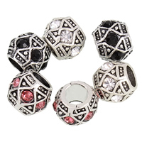 Rhinestone Zinc Alloy European Beads, Drum, antique silver color plated, without troll & with rhinestone, more colors for choice, lead & cadmium free, 9x10mm, Hole:Approx 5mm, Sold By PC