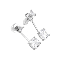 Cubic Zircon Brass Earring, with rubber earnut, platinum plated, with cubic zirconia, nickel, lead & cadmium free, 7x24x5mm, Sold By Pair