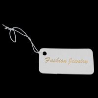 Jewelry Price Tag, Paper, Rectangle, with letter pattern, white, 40x20x0.5mm, 1000PCs/Bag, Sold By Bag