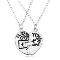 Couple Zinc Alloy Necklace, with iron chain, Heart, word I love you, platinum color plated, Unisex & oval chain & enamel, lead & cadmium free, 24x28mm, Length:Approx 17.5 Inch, Sold By Pair