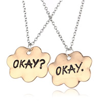 Couple Zinc Alloy Necklace, with iron chain, Cloud, plated, Unisex & oval chain & with letter pattern & blacken, more colors for choice, lead & cadmium free, 30mm, Length:Approx 17.5 Inch, Sold By Pair