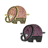 Cubic Zirconia Micro Pave Brass Connector, Elephant, plated, micro pave cubic zirconia & 1/1 loop, more colors for choice, 22x17.5x2mm, Hole:Approx 1.2mm, Sold By PC
