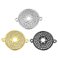 Cubic Zirconia Micro Pave Brass Connector, Flat Round, plated, micro pave cubic zirconia & 1/1 loop & hollow, more colors for choice, 20x16x3.5mm, Hole:Approx 1.2mm, Sold By PC