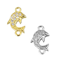 Cubic Zirconia Micro Pave Brass Connector, Dolphin, plated, micro pave cubic zirconia & 1/1 loop, more colors for choice, 6x10.5x2mm, Hole:Approx 1mm, Sold By PC