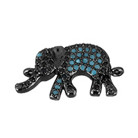 Cubic Zirconia Micro Pave Brass Connector, Elephant, plumbum black color plated, micro pave cubic zirconia & 1/1 loop, 20x10.5x3mm, Hole:Approx 1mm, Sold By PC