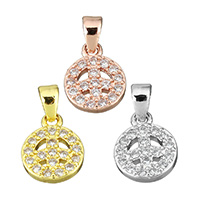 Cubic Zirconia Micro Pave Brass Connector, Peace Logo, plated, micro pave cubic zirconia & hollow, more colors for choice, 8.5x11x2mm, Hole:Approx 2.6x3.5mm, Sold By PC
