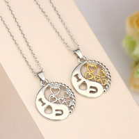 Couple Zinc Alloy Necklace, with iron chain, Round, word I love you, plated, Unisex & oval chain & hollow, more colors for choice, lead & cadmium free, 20x20mm, Length:Approx 17.5 Inch, Sold By Strand