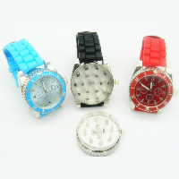 Unisex Wrist Watch, Zinc Alloy, with Glass & Silicone, platinum color plated, more colors for choice, nickel, lead & cadmium free, 40mm, Length:Approx 9.5 Inch, Sold By PC