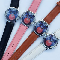 Unisex Wrist Watch, PU, with zinc alloy dial & Glass, platinum color plated, cartoon pattern & adjustable, more colors for choice, 35mm, 20mm, Length:9.5 Inch, Sold By PC