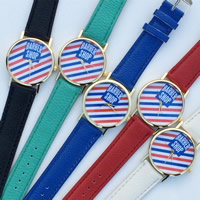 Unisex Wrist Watch, PU, with zinc alloy dial & Glass, plated, adjustable & with letter pattern, more colors for choice, 35mm, 20mm, Length:Approx 9.5 Inch, Sold By PC