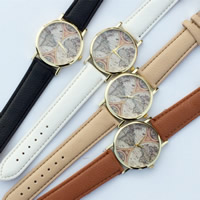 Unisex Wrist Watch, PU, with zinc alloy dial & Glass, plated, adjustable, more colors for choice, 35mm, 20mm, Length:Approx 9.5 Inch, Sold By PC