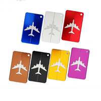 Luggage Tag, Aluminum, with Tiger Tail Wire, Rectangle, painted, more colors for choice, 75x45mm, Sold By PC