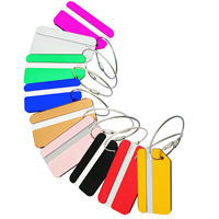 Luggage Tag, Aluminum, with Paper & Tiger Tail Wire, Rectangle, painted, more colors for choice, 80x42mm, Sold By PC