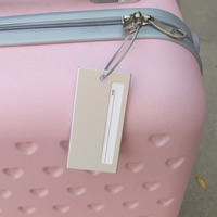 Luggage Tag, Aluminum, with Paper & Tiger Tail Wire, Rectangle, platinum color plated, 90x45mm, Sold By PC