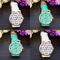 Unisex Wrist Watch, PU, with zinc alloy dial & Glass, plated, adjustable & with letter pattern, more colors for choice, 35mm, 20mm, Length:Approx 9 Inch, Sold By PC