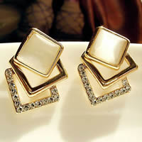 Cats Eye Earring, Zinc Alloy, with Cats Eye, stainless steel post pin, gold color plated, with rhinestone, more colors for choice, lead & cadmium free, 20mm, Sold By Pair