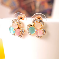 Cats Eye Earring, Zinc Alloy, with plastic earnut & Cats Eye, stainless steel post pin, Flower, gold color plated, with rhinestone, lead & cadmium free, 13x13mm, Sold By Pair